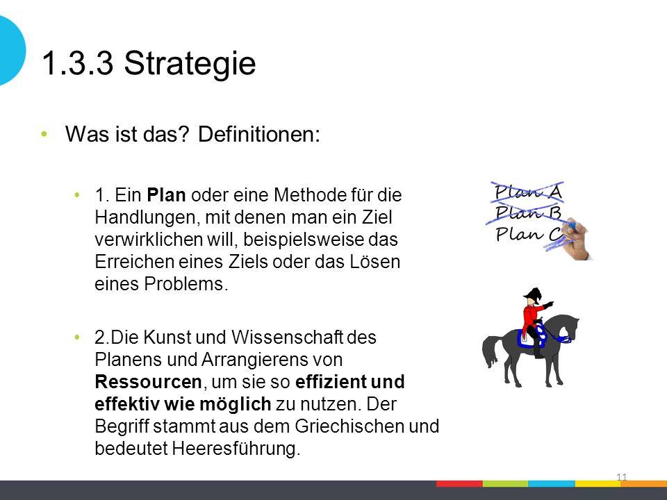 1.3.3 Strategie Was ist das? Definitionen: 1. Ein Plan oder eine Methode für die Handlungen, mit denen man ein Ziel verwirklichen will, beispielsweise