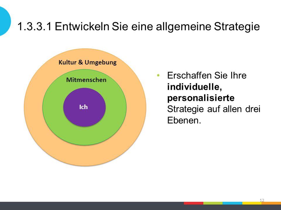 1.3.3.1 Entwickeln Sie eine allgemeine Strategie Erschaffen Sie Ihre individuelle, personalisierte Strategie auf allen drei Ebenen. 12 Kultur & Umgebu