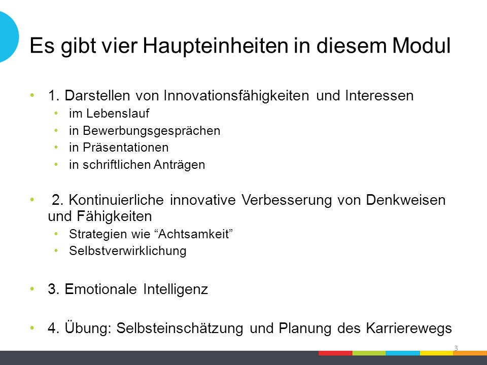 Es gibt vier Haupteinheiten in diesem Modul 1. Darstellen von Innovationsfähigkeiten und Interessen im Lebenslauf in Bewerbungsgesprächen in Präsentat