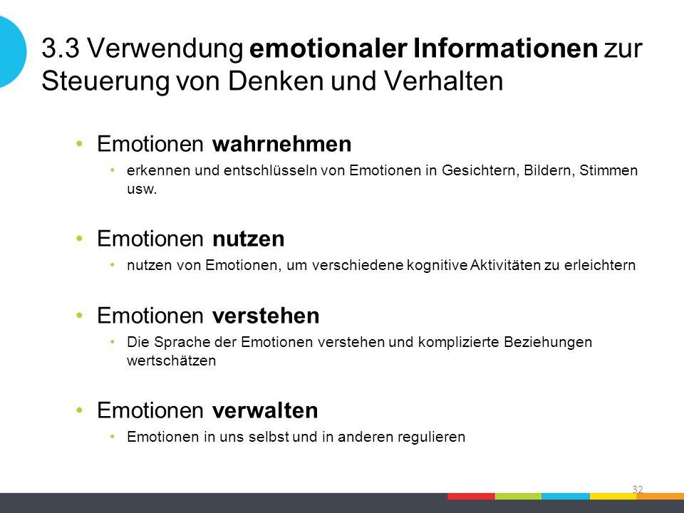 3.3 Verwendung emotionaler Informationen zur Steuerung von Denken und Verhalten Emotionen wahrnehmen erkennen und entschlüsseln von Emotionen in Gesichtern, Bildern, Stimmen usw.