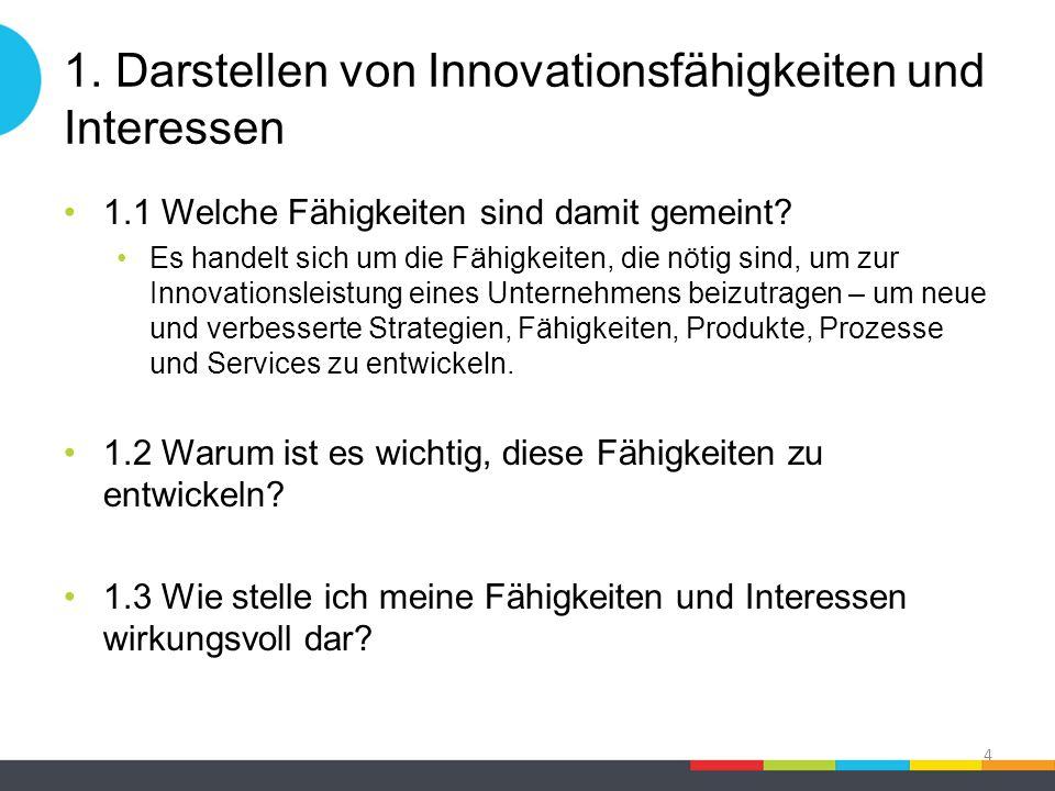 1. Darstellen von Innovationsfähigkeiten und Interessen 1.1 Welche Fähigkeiten sind damit gemeint? Es handelt sich um die Fähigkeiten, die nötig sind,