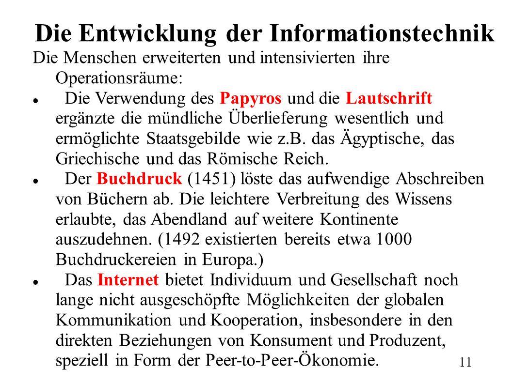 Die Entwicklung der Informationstechnik Die Menschen erweiterten und intensivierten ihre Operationsräume: Die Verwendung des Papyros und die Lautschrift ergänzte die mündliche Überlieferung wesentlich und ermöglichte Staatsgebilde wie z.B.