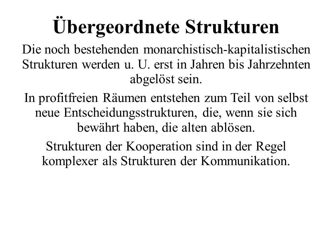 Übergeordnete Strukturen Die noch bestehenden monarchistisch-kapitalistischen Strukturen werden u.