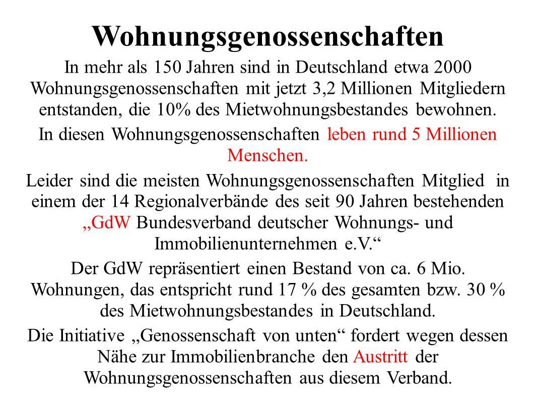 Wohnungsgenossenschaften In mehr als 150 Jahren sind in Deutschland etwa 2000 Wohnungsgenossenschaften mit jetzt 3,2 Millionen Mitgliedern entstanden, die 10% des Mietwohnungsbestandes bewohnen.