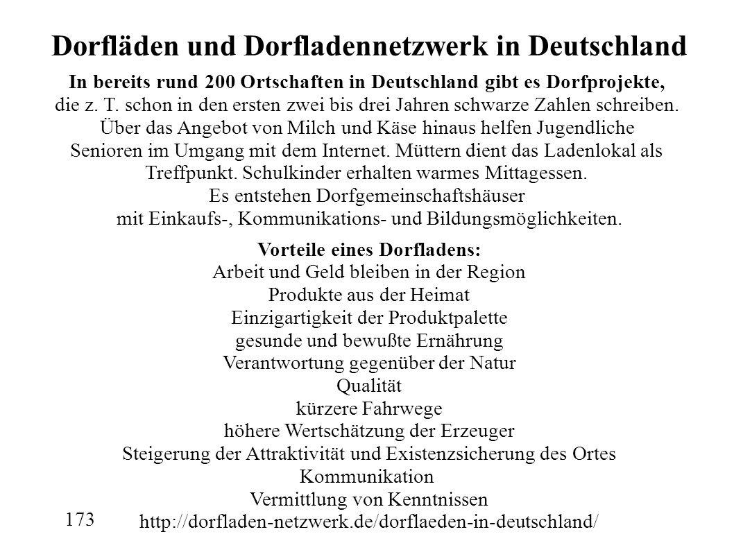 Dorfläden und Dorfladennetzwerk in Deutschland In bereits rund 200 Ortschaften in Deutschland gibt es Dorfprojekte, die z.