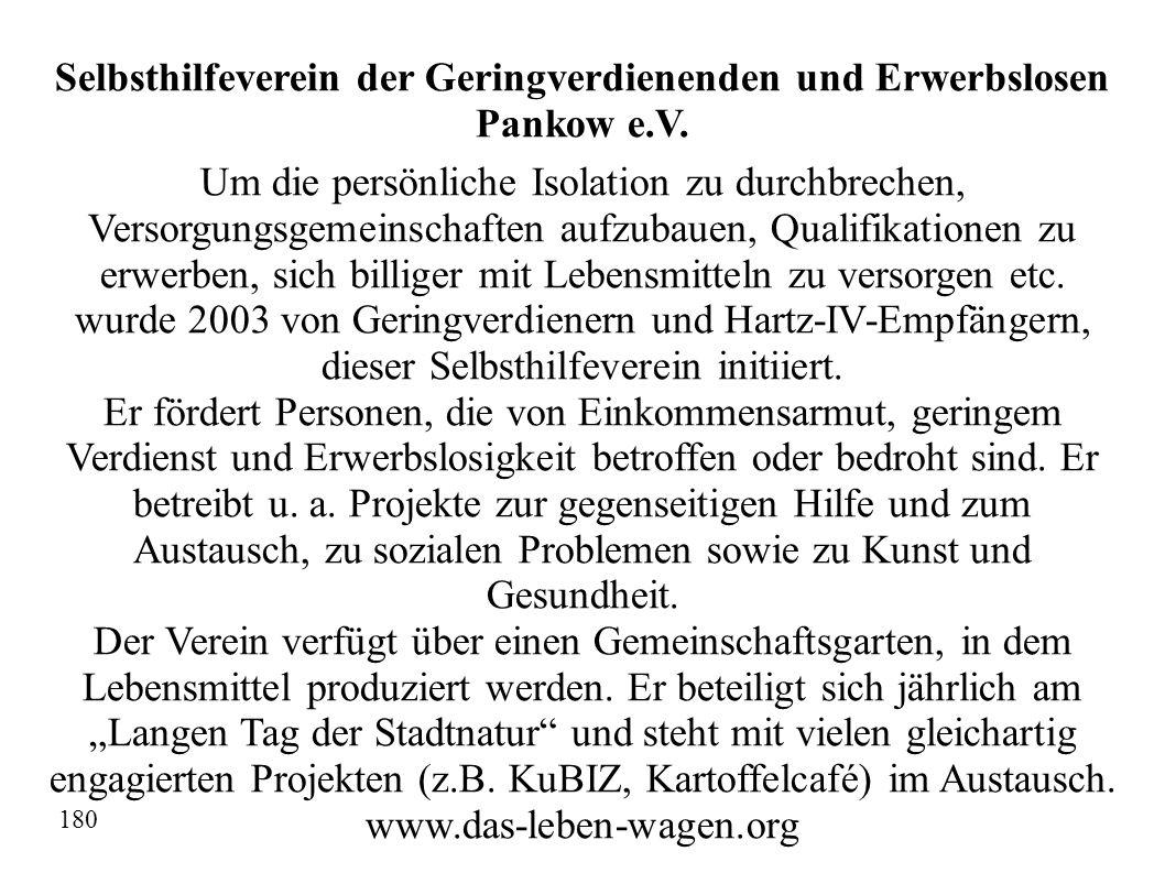 Selbsthilfeverein der Geringverdienenden und Erwerbslosen Pankow e.V.