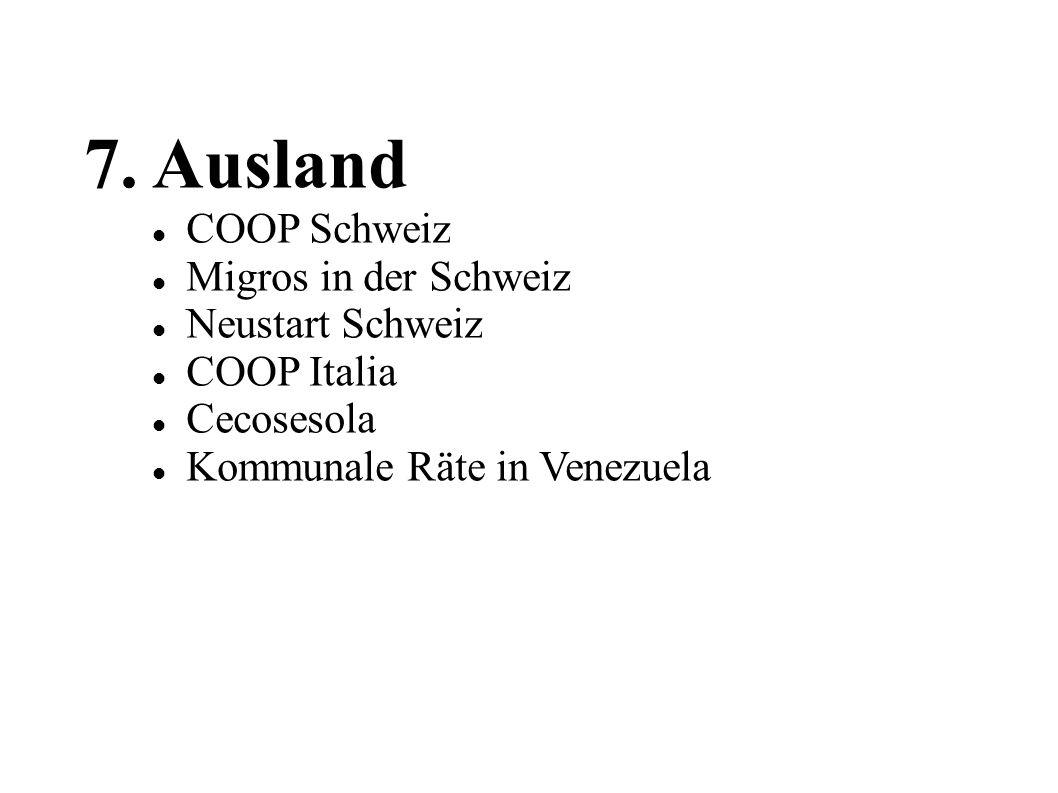 7. Ausland COOP Schweiz Migros in der Schweiz Neustart Schweiz COOP Italia Cecosesola Kommunale Räte in Venezuela