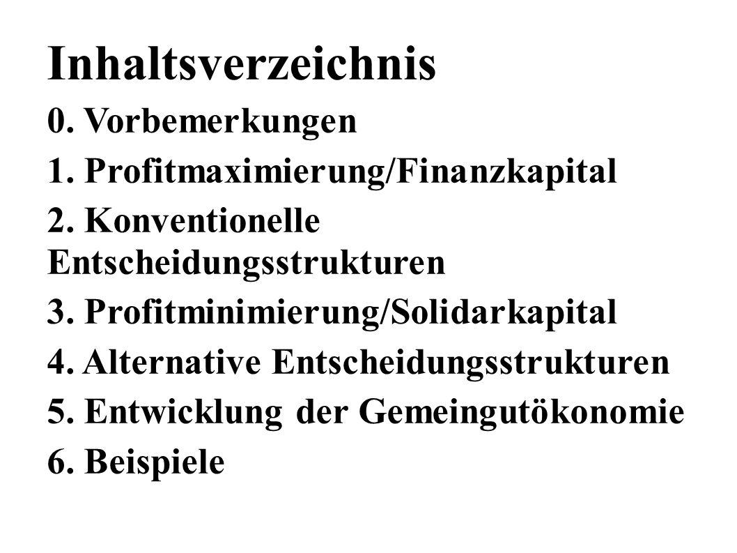 Inhaltsverzeichnis 0. Vorbemerkungen 1. Profitmaximierung/Finanzkapital 2.