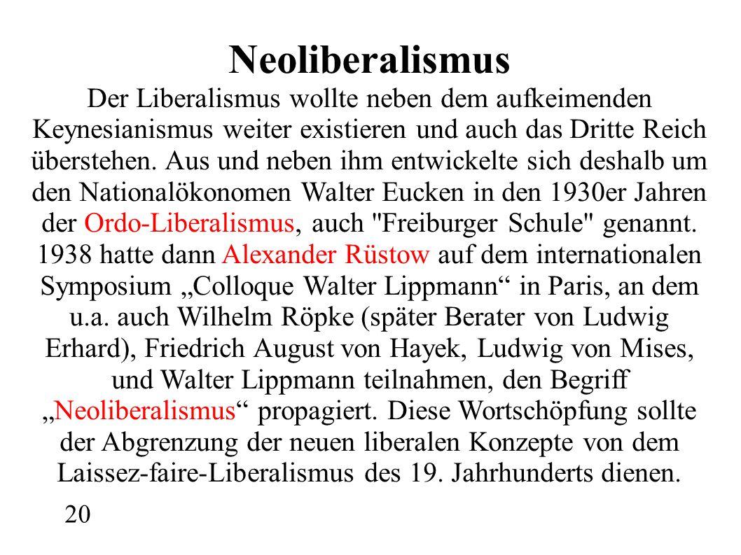 Neoliberalismus Der Liberalismus wollte neben dem aufkeimenden Keynesianismus weiter existieren und auch das Dritte Reich überstehen.