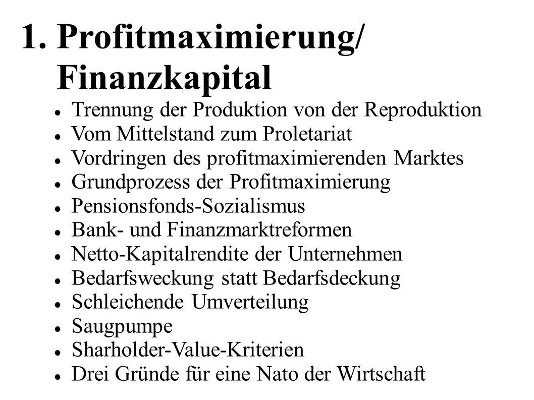 1. Profitmaximierung/ Finanzkapital Trennung der Produktion von der Reproduktion Vom Mittelstand zum Proletariat Vordringen des profitmaximierenden Ma