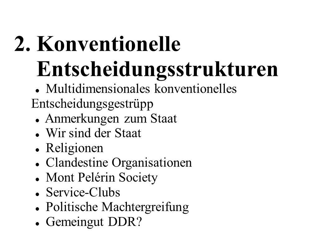 2. Konventionelle Entscheidungsstrukturen Multidimensionales konventionelles Entscheidungsgestrüpp Anmerkungen zum Staat Wir sind der Staat Religionen