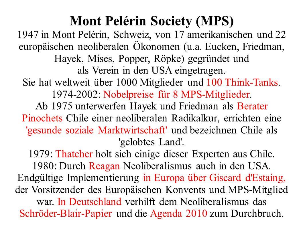 Mont Pelérin Society (MPS) 1947 in Mont Pelérin, Schweiz, von 17 amerikanischen und 22 europäischen neoliberalen Ökonomen (u.a.