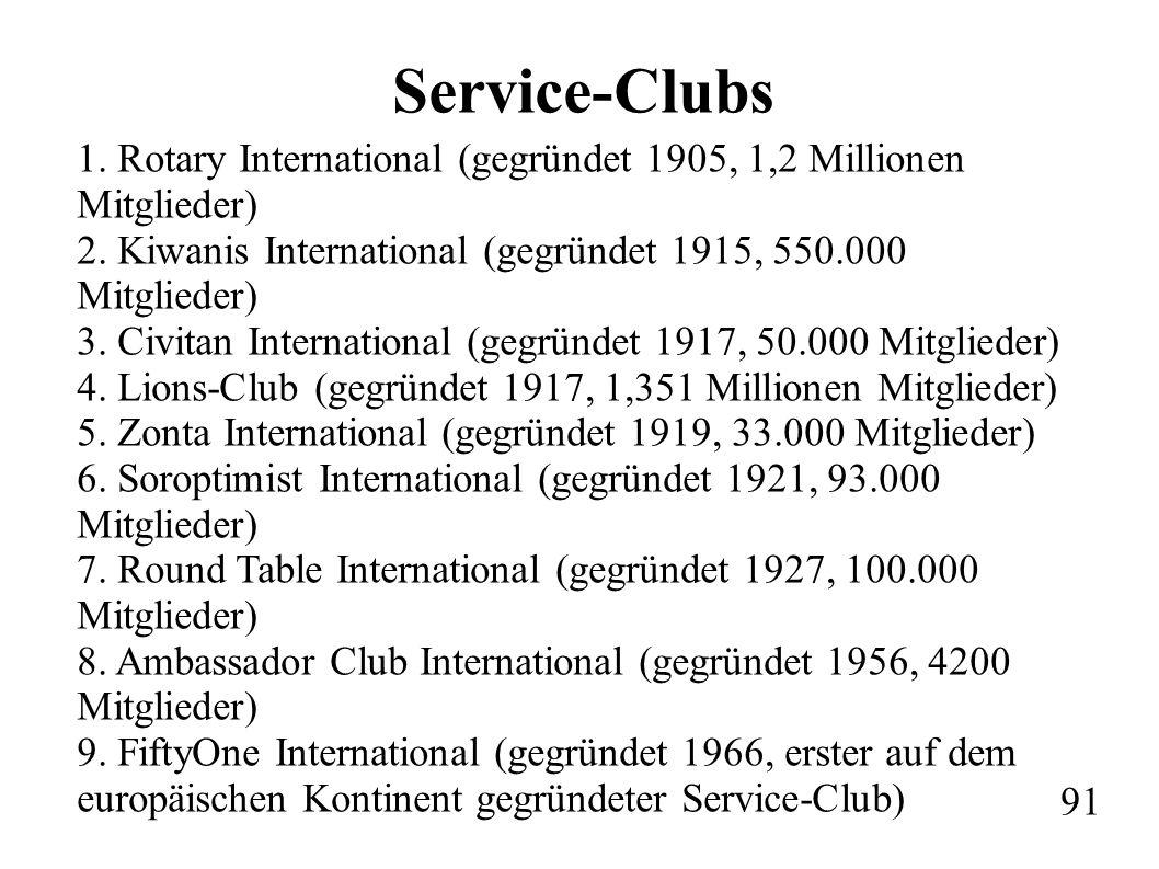 Service-Clubs 1. Rotary International (gegründet 1905, 1,2 Millionen Mitglieder) 2.