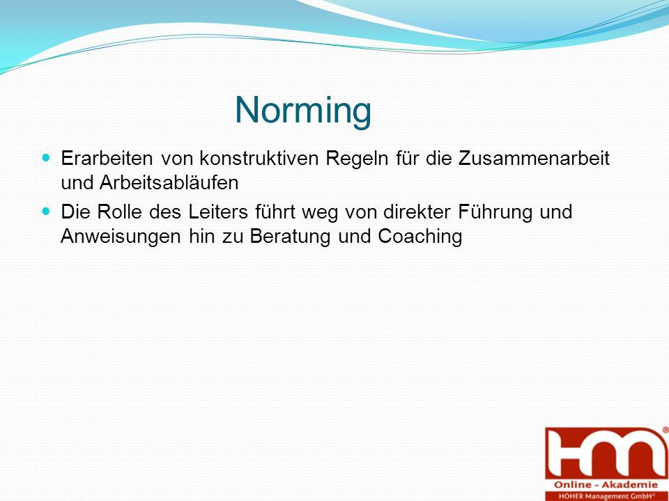 Norming Erarbeiten von konstruktiven Regeln für die Zusammenarbeit und Arbeitsabläufen Die Rolle des Leiters führt weg von direkter Führung und Anweisungen hin zu Beratung und Coaching