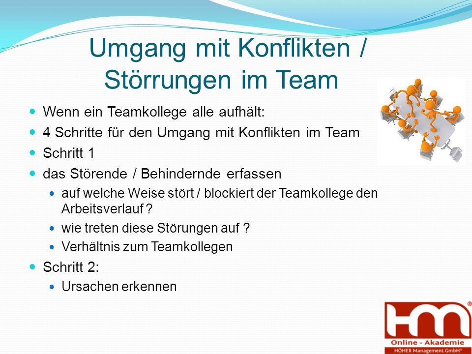 Umgang mit Konflikten / Störrungen im Team Wenn ein Teamkollege alle aufhält: 4 Schritte für den Umgang mit Konflikten im Team Schritt 1 das Störende / Behindernde erfassen auf welche Weise stört / blockiert der Teamkollege den Arbeitsverlauf .
