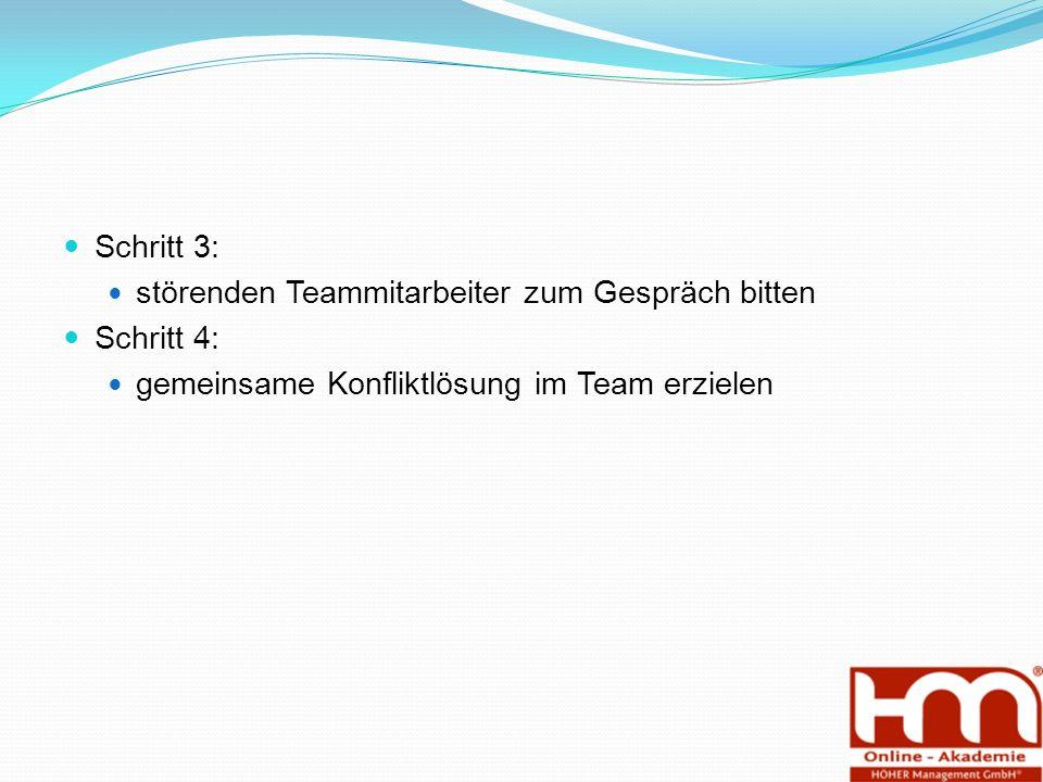 Schritt 3: störenden Teammitarbeiter zum Gespräch bitten Schritt 4: gemeinsame Konfliktlösung im Team erzielen