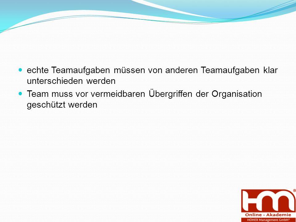 echte Teamaufgaben müssen von anderen Teamaufgaben klar unterschieden werden Team muss vor vermeidbaren Übergriffen der Organisation geschützt werden
