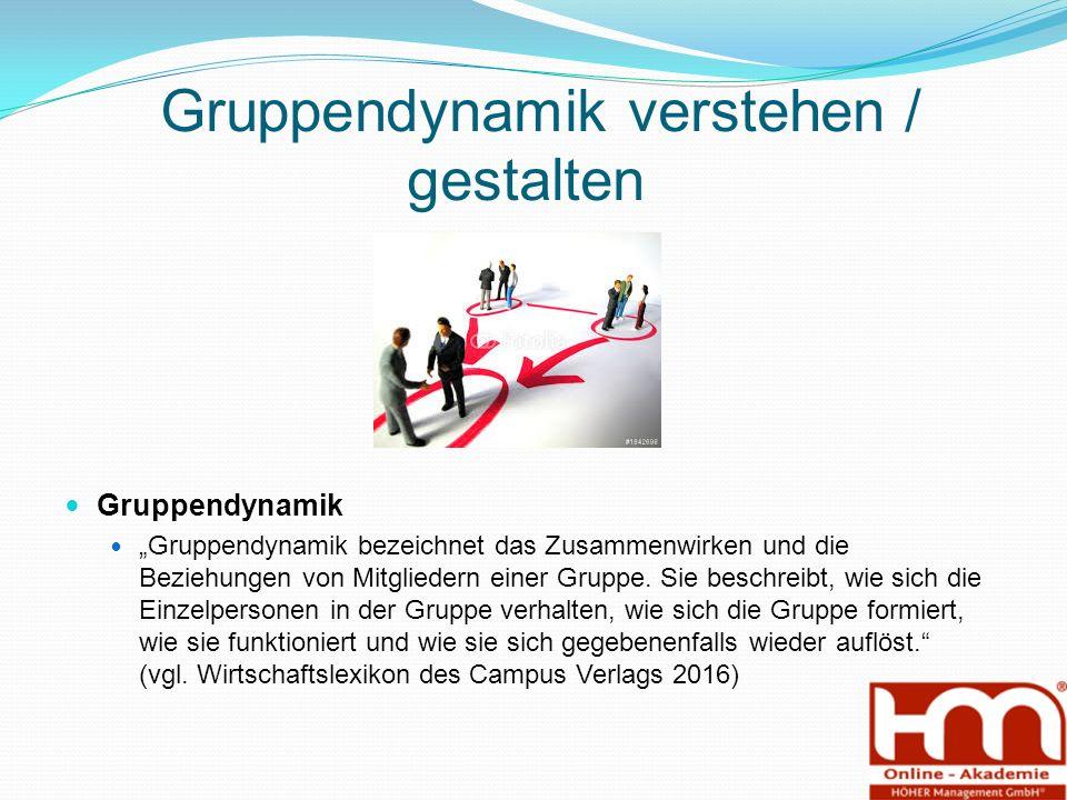"""Gruppendynamik verstehen / gestalten Gruppendynamik """"Gruppendynamik bezeichnet das Zusammenwirken und die Beziehungen von Mitgliedern einer Gruppe."""