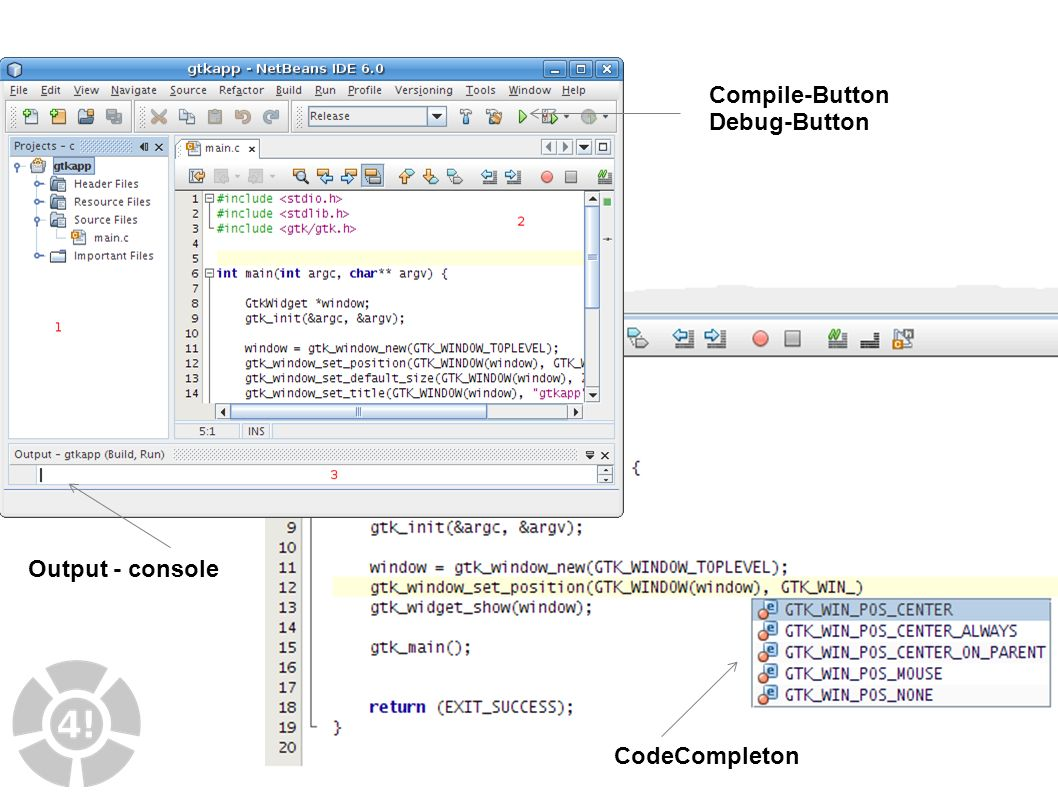 16 IDE CodeCompleton Compile-Button Debug-Button Output - console