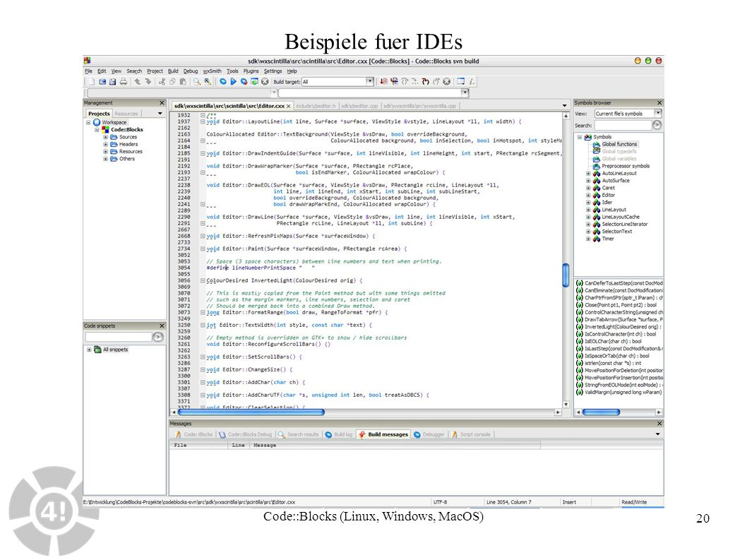 20 Beispiele fuer IDEs Code::Blocks (Linux, Windows, MacOS)