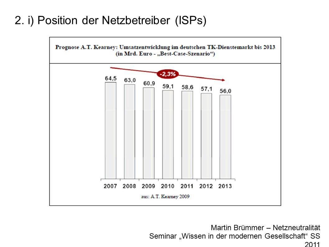 "2. i) Position der Netzbetreiber (ISPs) Martin Brümmer – Netzneutralität Seminar ""Wissen in der modernen Gesellschaft"" SS 2011"