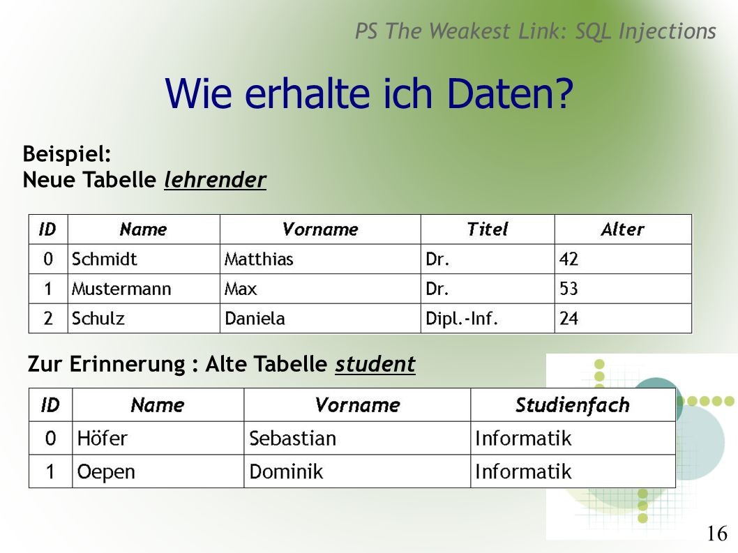 16 PS The Weakest Link: SQL Injections Wie erhalte ich Daten.