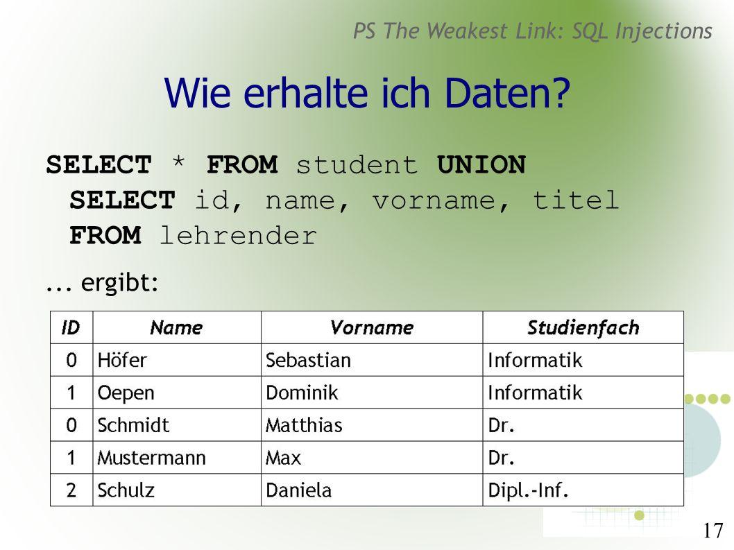 17 PS The Weakest Link: SQL Injections Wie erhalte ich Daten.