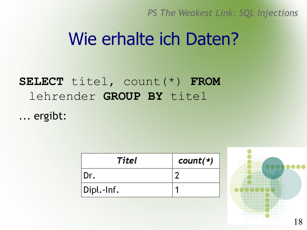 18 PS The Weakest Link: SQL Injections Wie erhalte ich Daten? SELECT titel, count(*) FROM lehrender GROUP BY titel... ergibt: