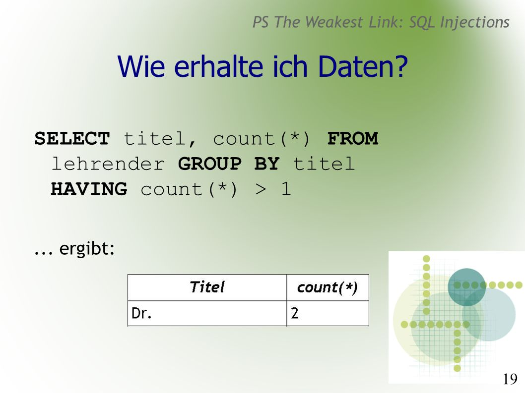 19 PS The Weakest Link: SQL Injections Wie erhalte ich Daten? SELECT titel, count(*) FROM lehrender GROUP BY titel HAVING count(*) > 1... ergibt: