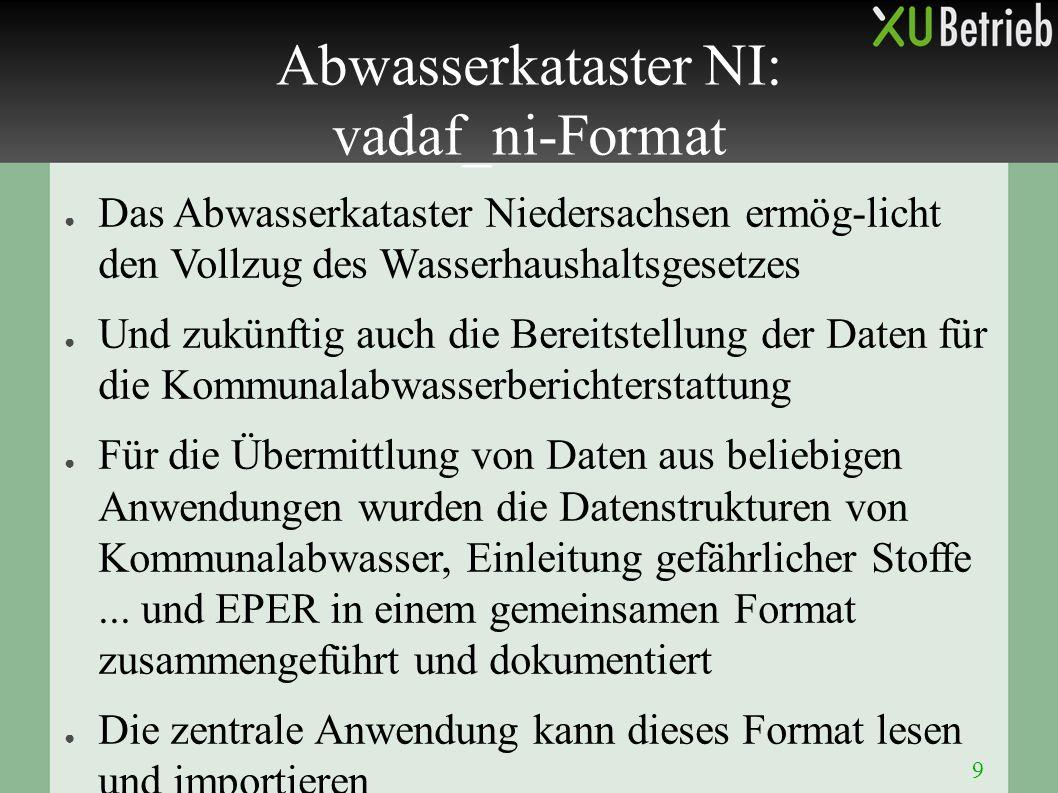● Das Abwasserkataster Niedersachsen ermög-licht den Vollzug des Wasserhaushaltsgesetzes ● Und zukünftig auch die Bereitstellung der Daten für die Kom