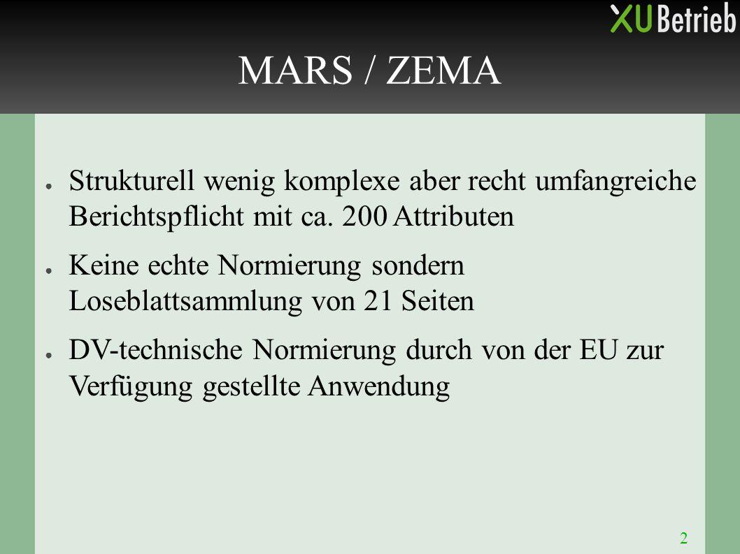 2 MARS / ZEMA ● Strukturell wenig komplexe aber recht umfangreiche Berichtspflicht mit ca. 200 Attributen ● Keine echte Normierung sondern Loseblattsa