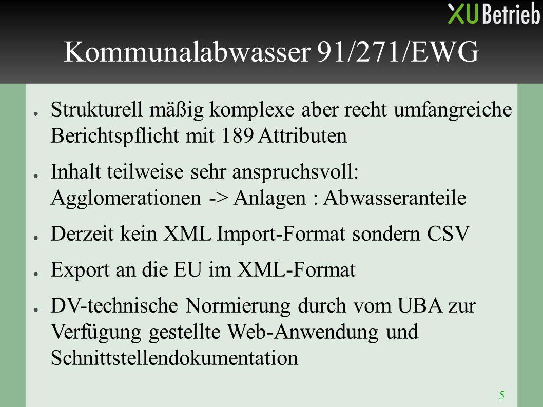 5 ● Strukturell mäßig komplexe aber recht umfangreiche Berichtspflicht mit 189 Attributen ● Inhalt teilweise sehr anspruchsvoll: Agglomerationen -> An