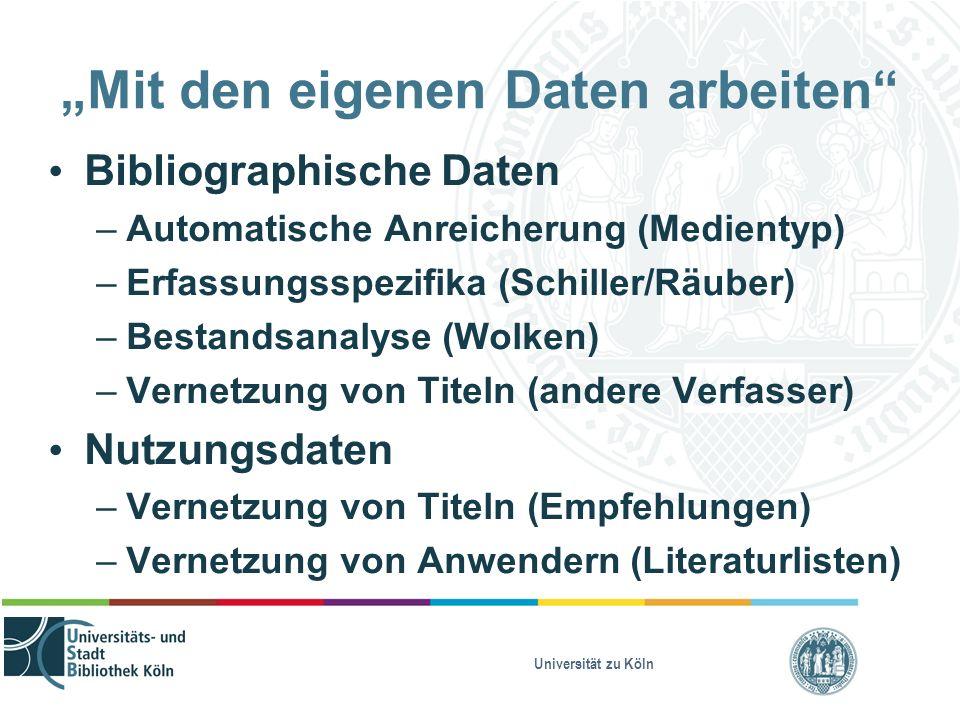 """Universität zu Köln """"Mit den eigenen Daten arbeiten Bibliographische Daten – Automatische Anreicherung (Medientyp) – Erfassungsspezifika (Schiller/Räuber) – Bestandsanalyse (Wolken) – Vernetzung von Titeln (andere Verfasser) Nutzungsdaten – Vernetzung von Titeln (Empfehlungen) – Vernetzung von Anwendern (Literaturlisten)"""