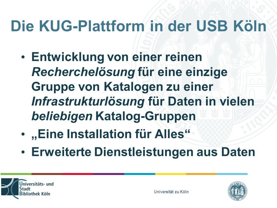 """Universität zu Köln Die KUG-Plattform in der USB Köln Entwicklung von einer reinen Recherchelösung für eine einzige Gruppe von Katalogen zu einer Infrastrukturlösung für Daten in vielen beliebigen Katalog-Gruppen """"Eine Installation für Alles Erweiterte Dienstleistungen aus Daten"""