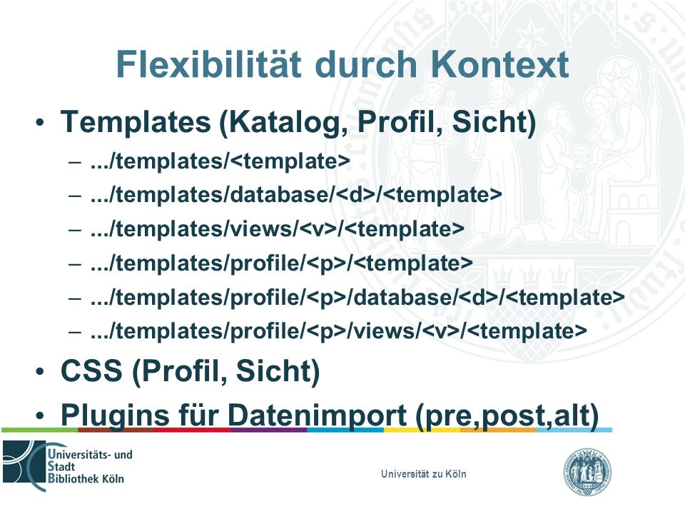 Universität zu Köln Flexibilität durch Kontext Templates (Katalog, Profil, Sicht) –.../templates/ –.../templates/database/ / –.../templates/views/ / –.../templates/profile/ / –.../templates/profile/ /database/ / –.../templates/profile/ /views/ / CSS (Profil, Sicht) Plugins für Datenimport (pre,post,alt)