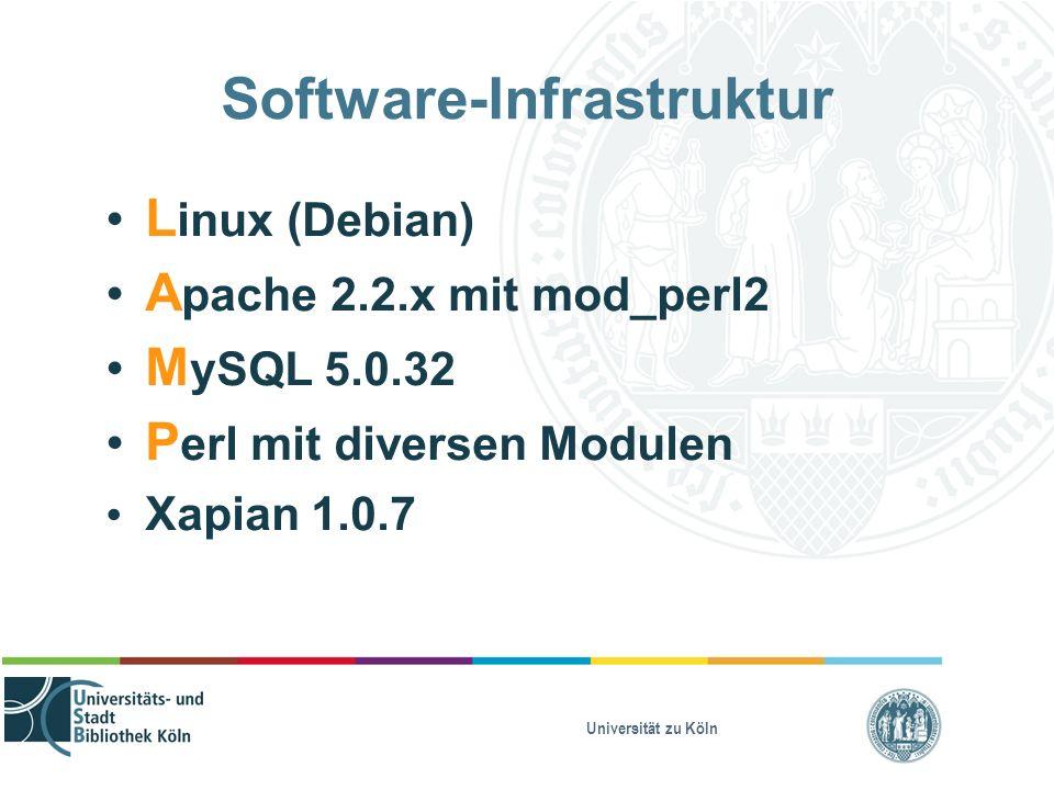 Software-Infrastruktur L inux (Debian) A pache 2.2.x mit mod_perl2 M ySQL 5.0.32 P erl mit diversen Modulen Xapian 1.0.7