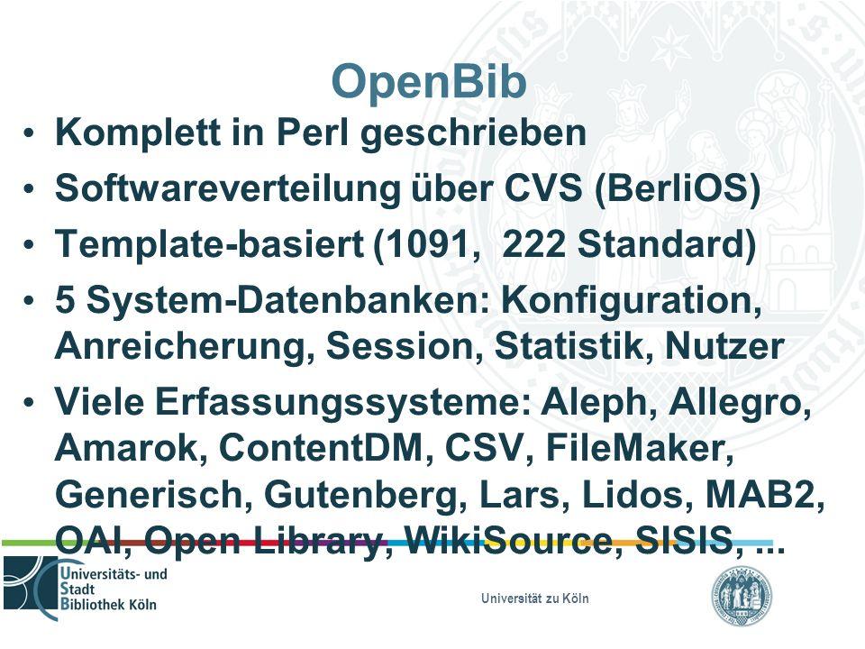 Universität zu Köln OpenBib Komplett in Perl geschrieben Softwareverteilung über CVS (BerliOS) Template-basiert (1091, 222 Standard) 5 System-Datenbanken: Konfiguration, Anreicherung, Session, Statistik, Nutzer Viele Erfassungssysteme: Aleph, Allegro, Amarok, ContentDM, CSV, FileMaker, Generisch, Gutenberg, Lars, Lidos, MAB2, OAI, Open Library, WikiSource, SISIS,...