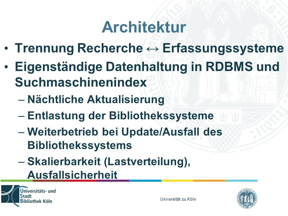 Universität zu Köln Architektur Trennung Recherche ↔ Erfassungs systeme Eigenständige Datenhaltung in RDBMS und Suchmaschinenindex – Nächtliche Aktualisierung – Entlastung der Bibliothekssysteme – Weiterbetrieb bei Update/Ausfall des Bibliothekssystems – Skalierbarkeit (Lastverteilung), Ausfallsicherheit