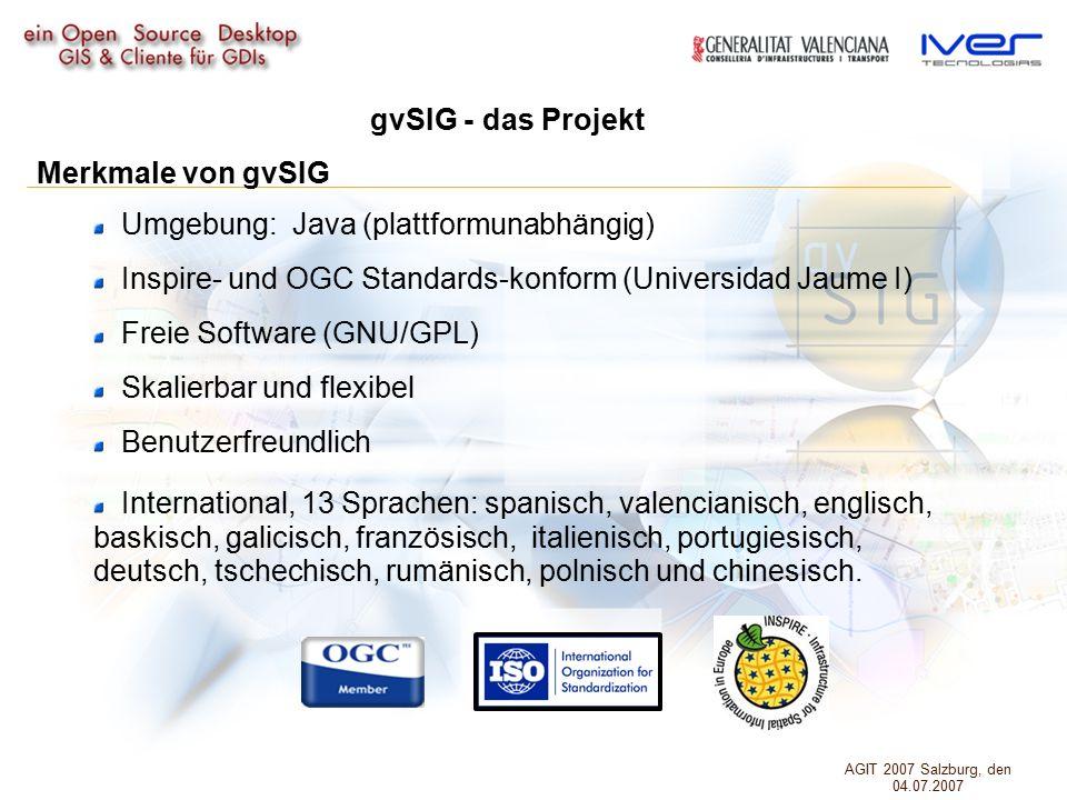 Umgebung: Java (plattformunabhängig) Inspire- und OGC Standards-konform (Universidad Jaume I) Freie Software (GNU/GPL) Skalierbar und flexibel Benutzerfreundlich International, 13 Sprachen: spanisch, valencianisch, englisch, baskisch, galicisch, französisch, italienisch, portugiesisch, deutsch, tschechisch, rumänisch, polnisch und chinesisch.