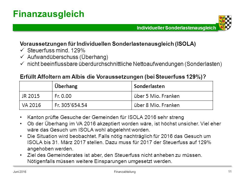 Finanzausgleich Juni 2016 11 Finanzabteilung Individueller Sonderlastenausgleich Voraussetzungen für Individuellen Sonderlastenausgleich (ISOLA) Steuerfuss mind.