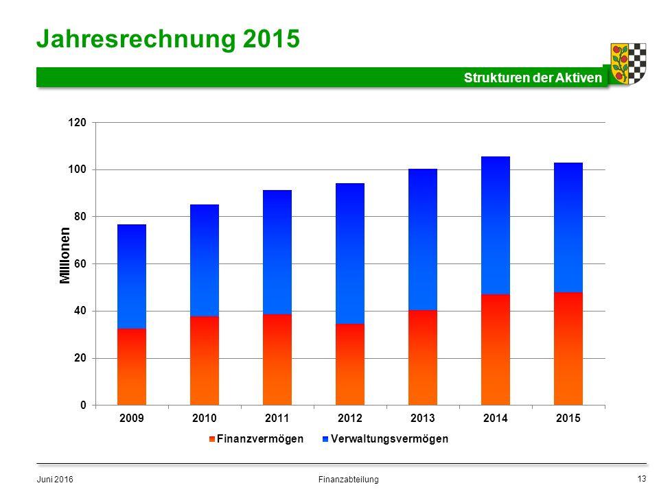 Jahresrechnung 2015 Strukturen der Aktiven Juni 2016 13 Finanzabteilung