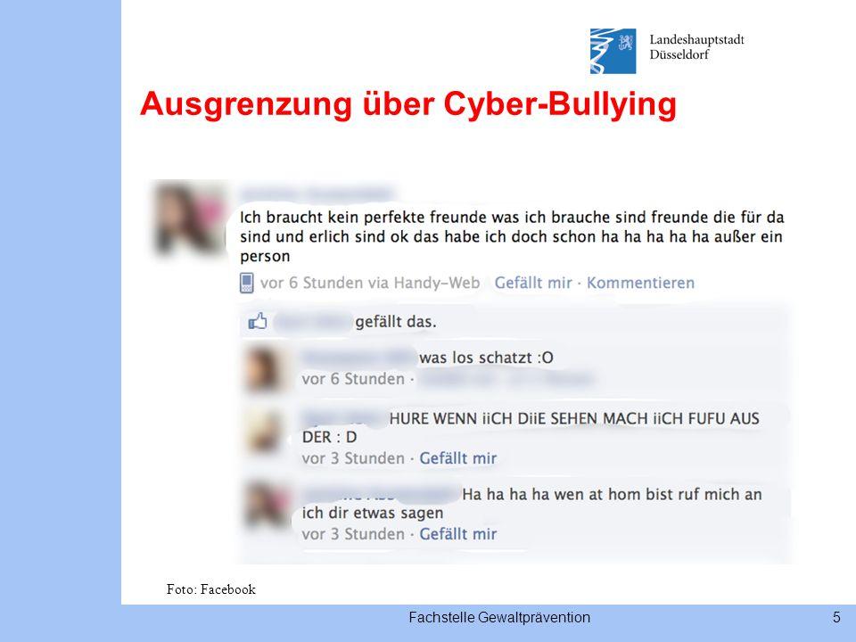 Fachstelle Gewaltprävention5 Ausgrenzung über Cyber-Bullying Foto: Facebook