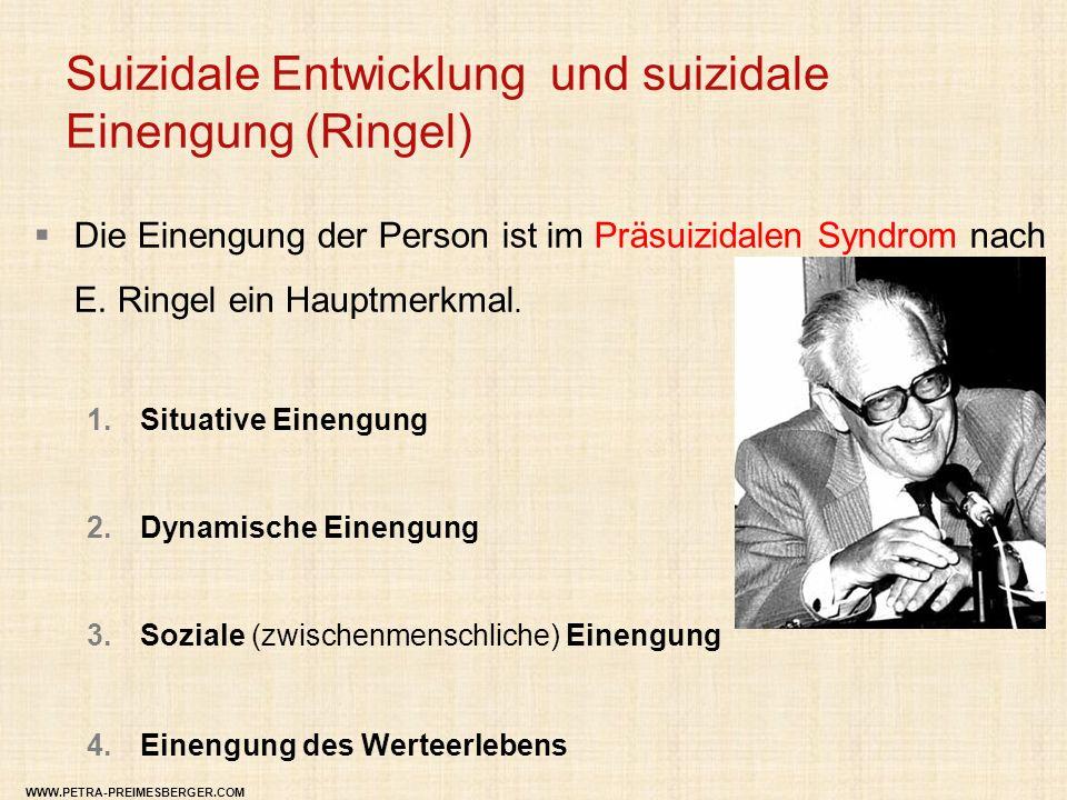 Suizidale Entwicklung und suizidale Einengung (Ringel)  Die Einengung der Person ist im Präsuizidalen Syndrom nach E. Ringel ein Hauptmerkmal. 1.Situ