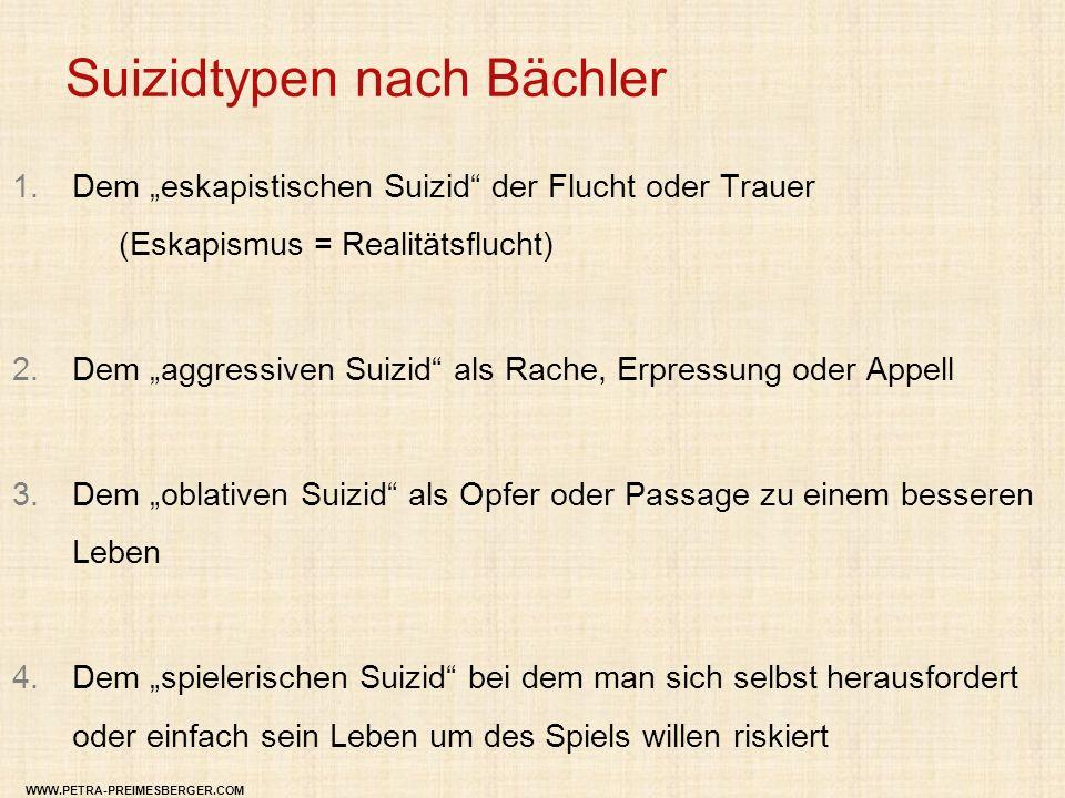"""Suizidtypen nach Bächler 1.Dem """"eskapistischen Suizid"""" der Flucht oder Trauer (Eskapismus = Realitätsflucht) 2.Dem """"aggressiven Suizid"""" als Rache, Erp"""