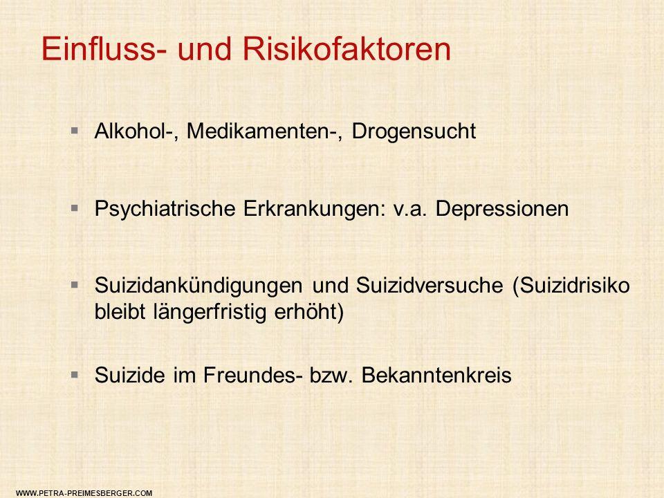 Einfluss- und Risikofaktoren  Alkohol-, Medikamenten-, Drogensucht  Psychiatrische Erkrankungen: v.a. Depressionen  Suizidankündigungen und Suizidv