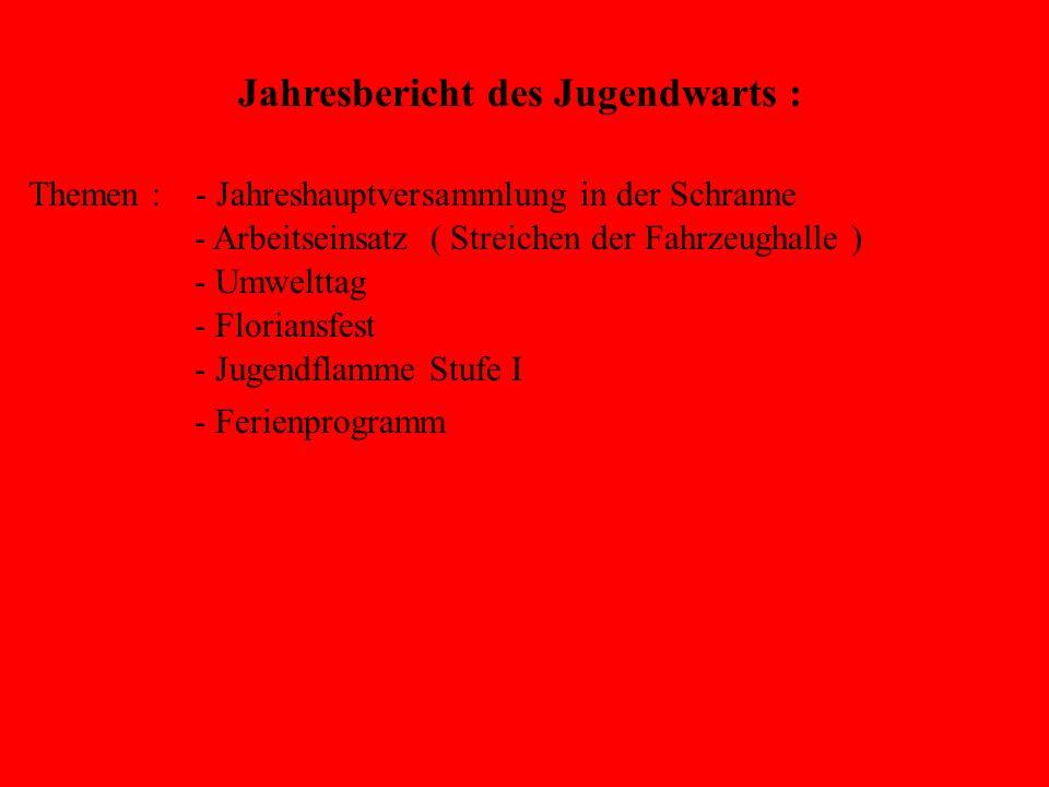 Jugendflamme Stufe 1 Abnahme am : 24.05.2006 Aufgaben : Notruf – Absetzen. Knoten und Stiche. Schlauchkunde. Handhabung vom Verteiler. Handhabung vom