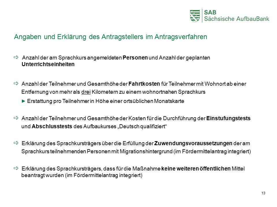 Angaben und Erklärung des Antragstellers im Antragsverfahren  Anzahl der am Sprachkurs angemeldeten Personen und Anzahl der geplanten Unterrichtseinh