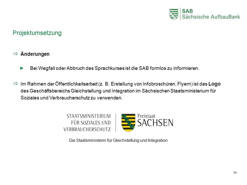  Änderungen Bei Wegfall oder Abbruch des Sprachkurses ist die SAB formlos zu informieren.  Im Rahmen der Öffentlichkeitsarbeit (z. B. Erstellung von