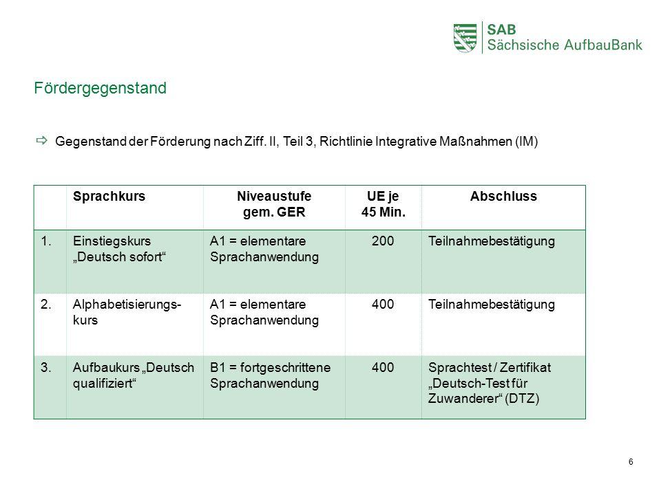 """Fördergegenstand 6 SprachkursNiveaustufe gem. GER UE je 45 Min. Abschluss 1.Einstiegskurs """"Deutsch sofort"""" A1 = elementare Sprachanwendung 200Teilnahm"""