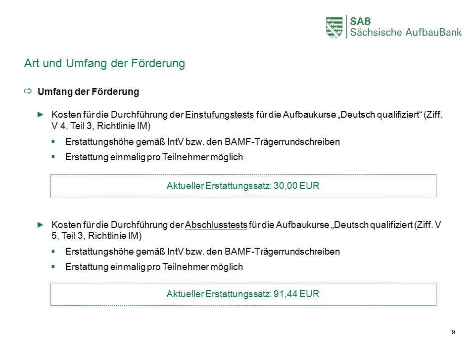 """Art und Umfang der Förderung  Umfang der Förderung Kosten für die Durchführung der Einstufungstests für die Aufbaukurse """"Deutsch qualifiziert"""" (Ziff."""